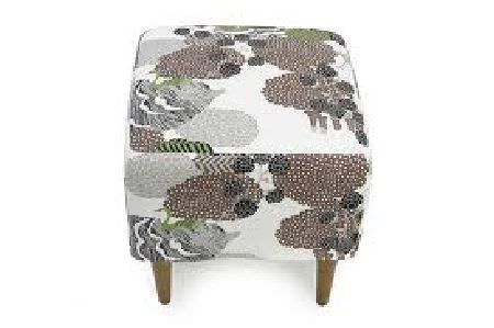 Swedish Fabric Company -  Arvidssons Fabric Collection - Footstool on dark brown legs, fabric with white mottled background and dark grey and brown shapes.