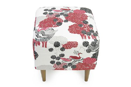 Swedish Fabric Company -  Arvidssons Fabric Collection - Footstool with dark brown legs, fabric is white with red, grey and black shapes.