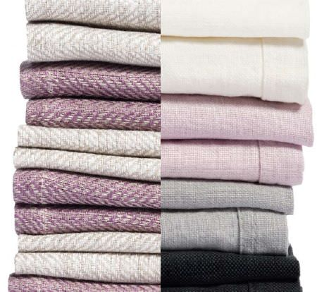 Swedish Fabric Company -  Himla Fabric Collection - Plain cream, pink, grey and black woven and linen fabrics
