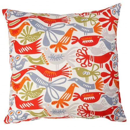 Swedish Fabric Company -  Klippan Fabric Collection - Cushion with white background depicting orange, grey, red and green naif birds.