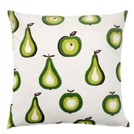 Swedish Fabric Company -  Klippan Fabric Collection - White cushion with green apples and pears.