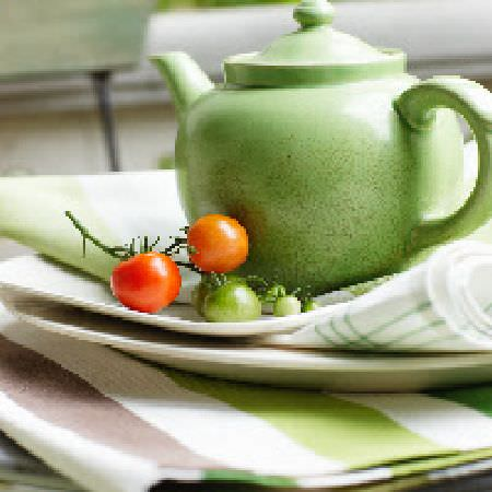 Swedish Fabric Company -  Linum Fabric Collection - Apple green teapot, with cream plates, green and white checked fabric, and striped fabric in white, green and lavender
