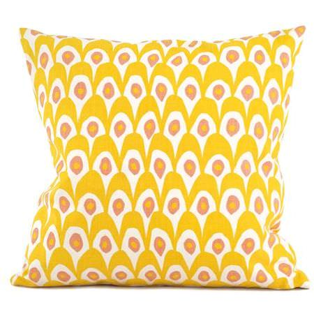 Swedish Fabric Company -  Littlephant Fabric Collection - Sunny yellow cushion with abstract, round pattern in white and pink.