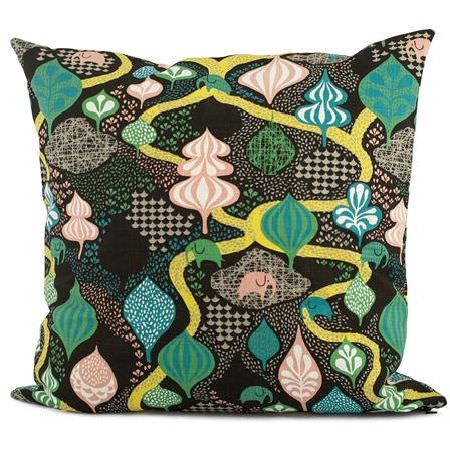 Swedish Fabric Company -  Littlephant Fabric Collection - Cushion with dark, mottled background with pink and green abstract shapes interwoven with a yellow snake-like pattern.