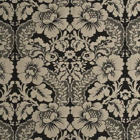 Threads -  Amazing Fabric Collection - Modern fabric dyed in colour black decorated with a luxurious floral design in light shade of grey