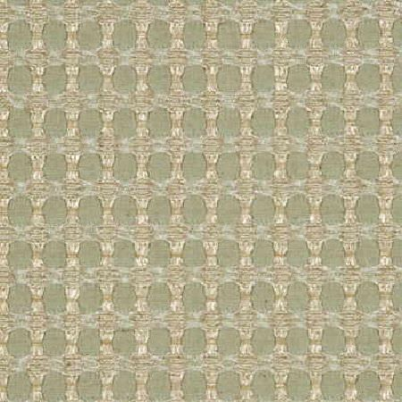 Threads -  Checkmate Fabric Collection - Simple fabric dyed in a soft shade of green decorated with threaded check pattern in colour beige