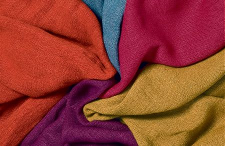 Threads -  Fascination Linens Fabric Collection - Modern plain design on fabrics made out of linen dyed in vibrant shades of orange, blue, pink and purple