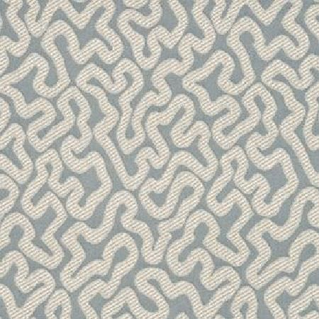 Threads -  Fascination Two Fabric Collection - Fabric dyed in light shade of blue decorated with an interesting curvy pattern in colour white