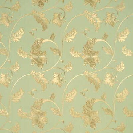 Threads -  Fleur Fabric Collection - Fabric dyed in shade mint green decorated with elegant flower and leaf pattern in light shade of yellow