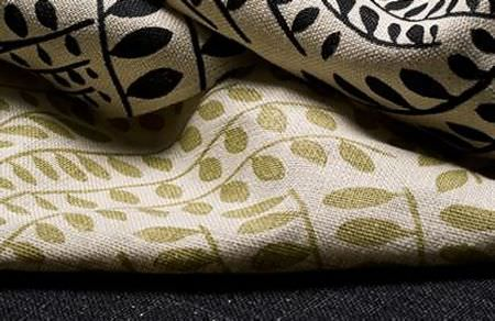 Threads -  Meander Fabric Collection - Fabrics dyed in light beige decorated with the same elegant leaf pattern in gold and dark blue