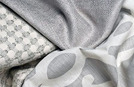 Threads -  Meander Fabric Collection - White fabric decorated with elegant threaded pattern, plain silver fabric and silver fabric with light grey design