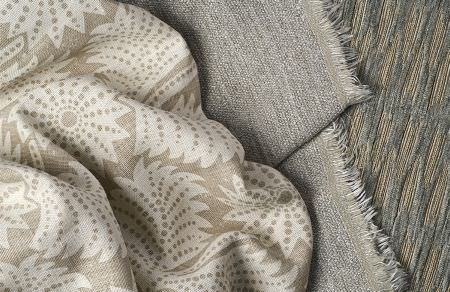 Threads -  Meander Fabric Collection - Beige fabric with light beige pattern of leaves, plain light grey fabric with fringes and modern threaded fabric