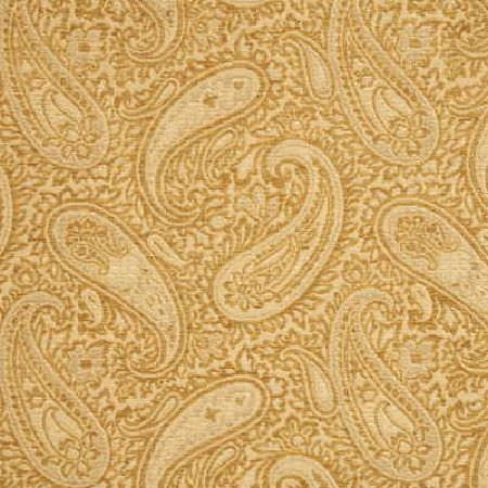 Threads -  Muse Fabric Collection - Fabric dyed in colour beige decorated with an elegant paisley pattern in vibrant colour gold