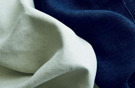 Threads -  Variation One Fabric Collection - Fabric dyed in white and fabric dyed in royal blue without any printed or threaded decorations