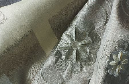 Threads -  Variation Two Fabric Collection - Silver and light grey fabrics with matching embroidered floral design and plain light beige fabric