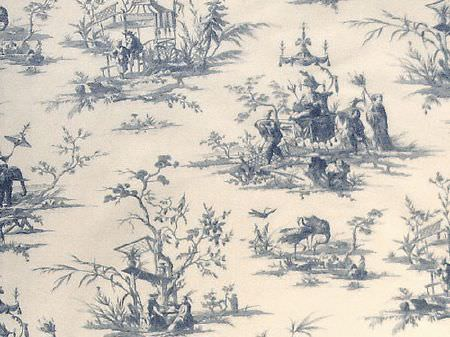 Titley and Marr -  Toile de Jouy Fabric Collection - Off-white coloured fabric printed with navy blue Oriental style drawings of outdoor scenes, trees, people and pagodas