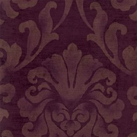 Wemyss -  Palacio Fabric Collection - Slightly distressed, light brown coloured ornate patterns printed on a dark grape purple coloured fabric background