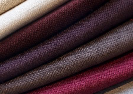 Wemyss -  Tundra Fabric Collection - 7 folds of woven fabrics, made in plain shades of biscuit, cream,maroon, aubergine, purple-grey, cerise and light grey