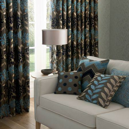 Clarke And Clarke   Bolero Fabric Collection   Brown And Blue Chenille  Floral Curtains With Patterned